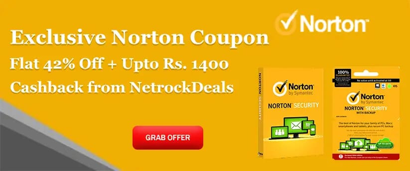 Exclusive Norton Coupon – Flat 42% Off + Upto Rs. 1400 Cashback from NetrockDeals