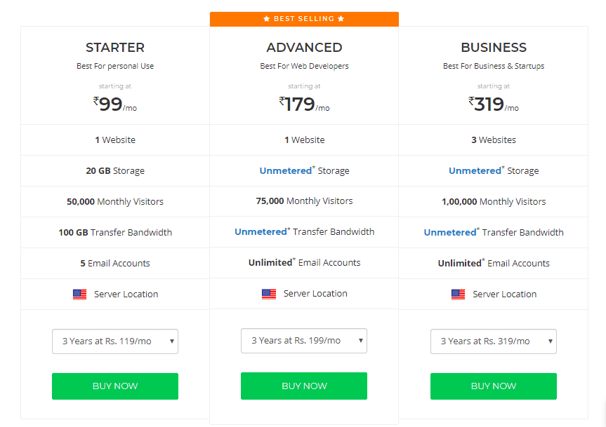 BigRock Hosting Pricing and Features
